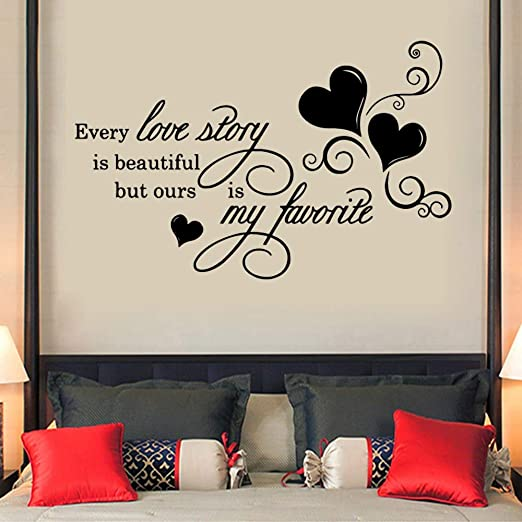 Love Story Vinyl Art Hearts Homes Wall Bedroom Room Quote Decal Sticker Decor