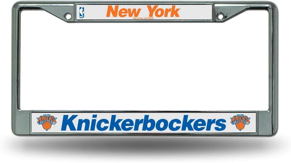 New York Knicks NBA Rico Industries  Laser Cut Inlaid Standard Chrome License Plate Frame