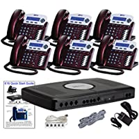 X16 Small Office Phone System with 6 Red Mahogany X16 Telephones - Auto Attendant, Voicemail, Caller ID, Paging & Intercom