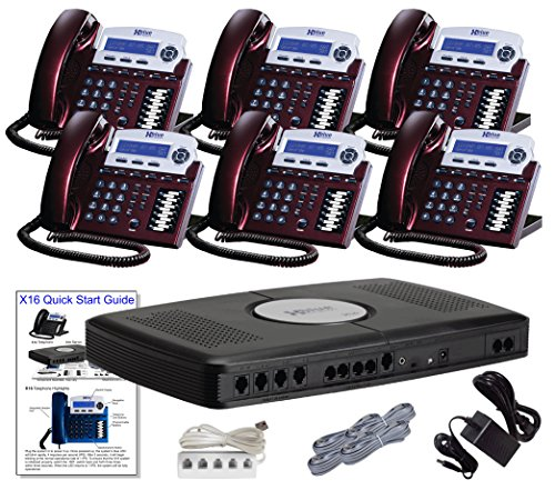 X16 Small Office Phone System with 6 Red Mahogany X16 Telephones - Auto Attendant, Voicemail, Caller ID, Paging & Intercom (Small Business Phone System Automated Attendant And Voicemail)