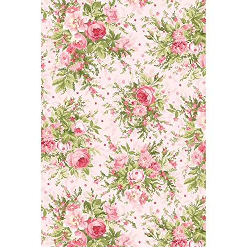 Heather~Heather and Roses~large Bouquets on Pink 8390-P Cotton Fabric by Maywood Studio