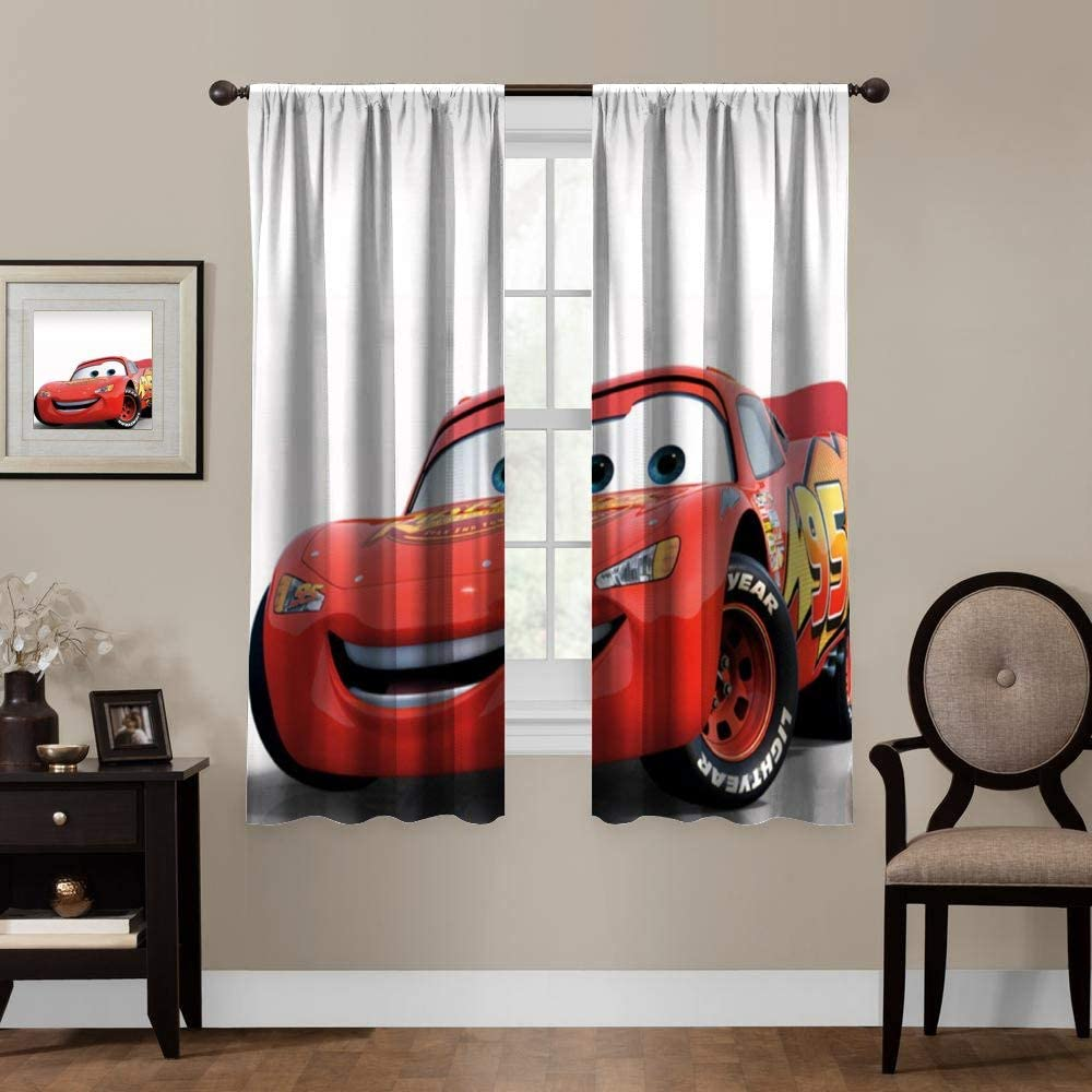 Blackout Curtains,Cars Lightning McQueen (8), Rod Pocket Thermal Insulated Darkening Window Drapes for Bedroom, Cute Animal Boys Girls Room Décor, 2 Panels,72x72 inch