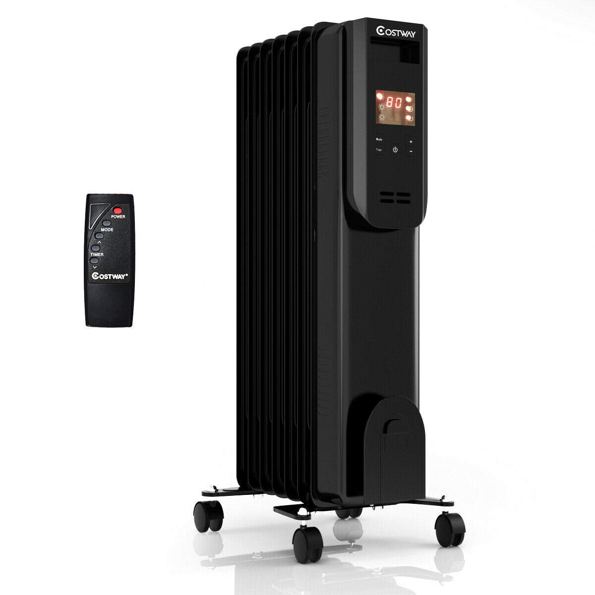 COSTWAY Portable Oil-Filled Heater, 1500W Electric Radiator Heater with 12h Timer, Remote Control, Digital Thermostat, Tip-over Overheat Protection, Energy-Efficient Space Heater for Bedroom, Office