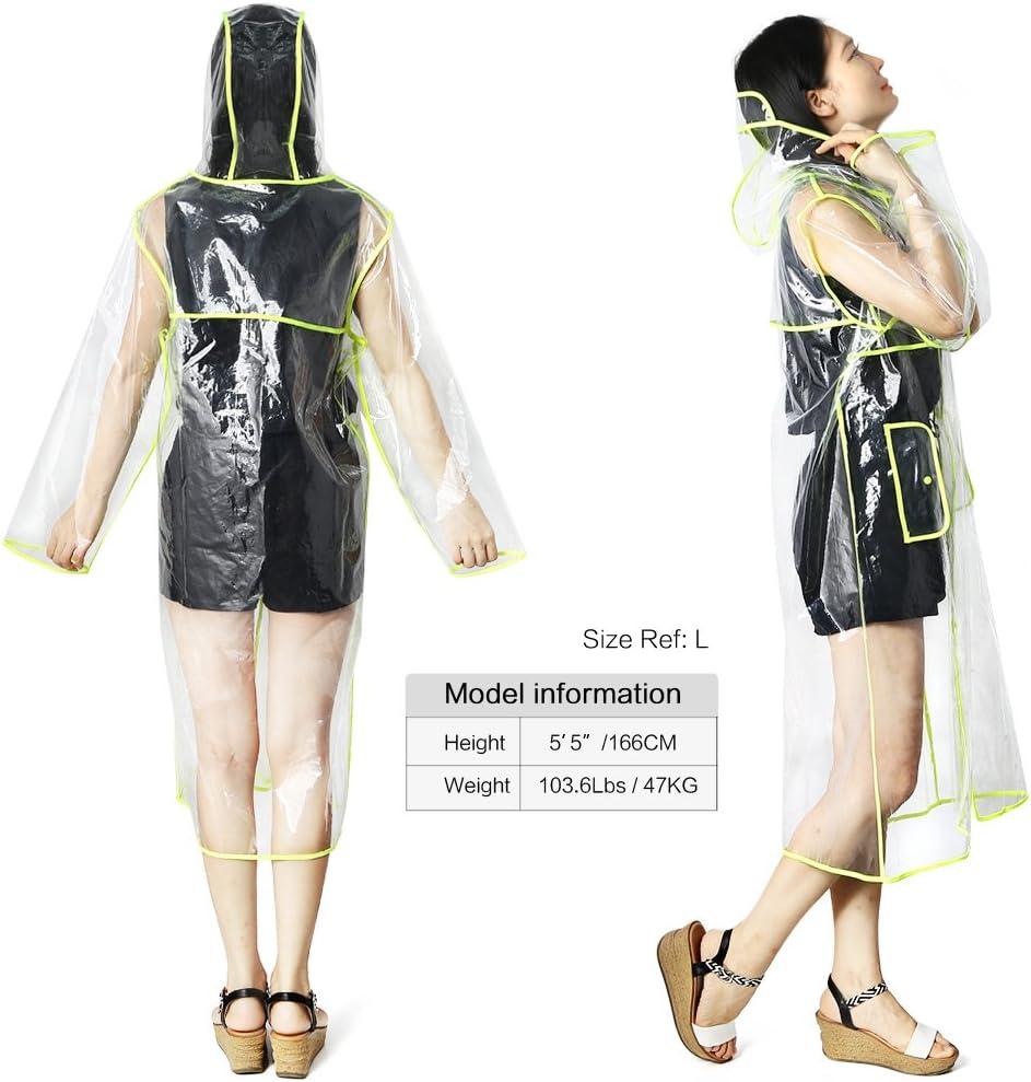 Zicac Imperméable Transparent PVC Manteau De Pluie Trench