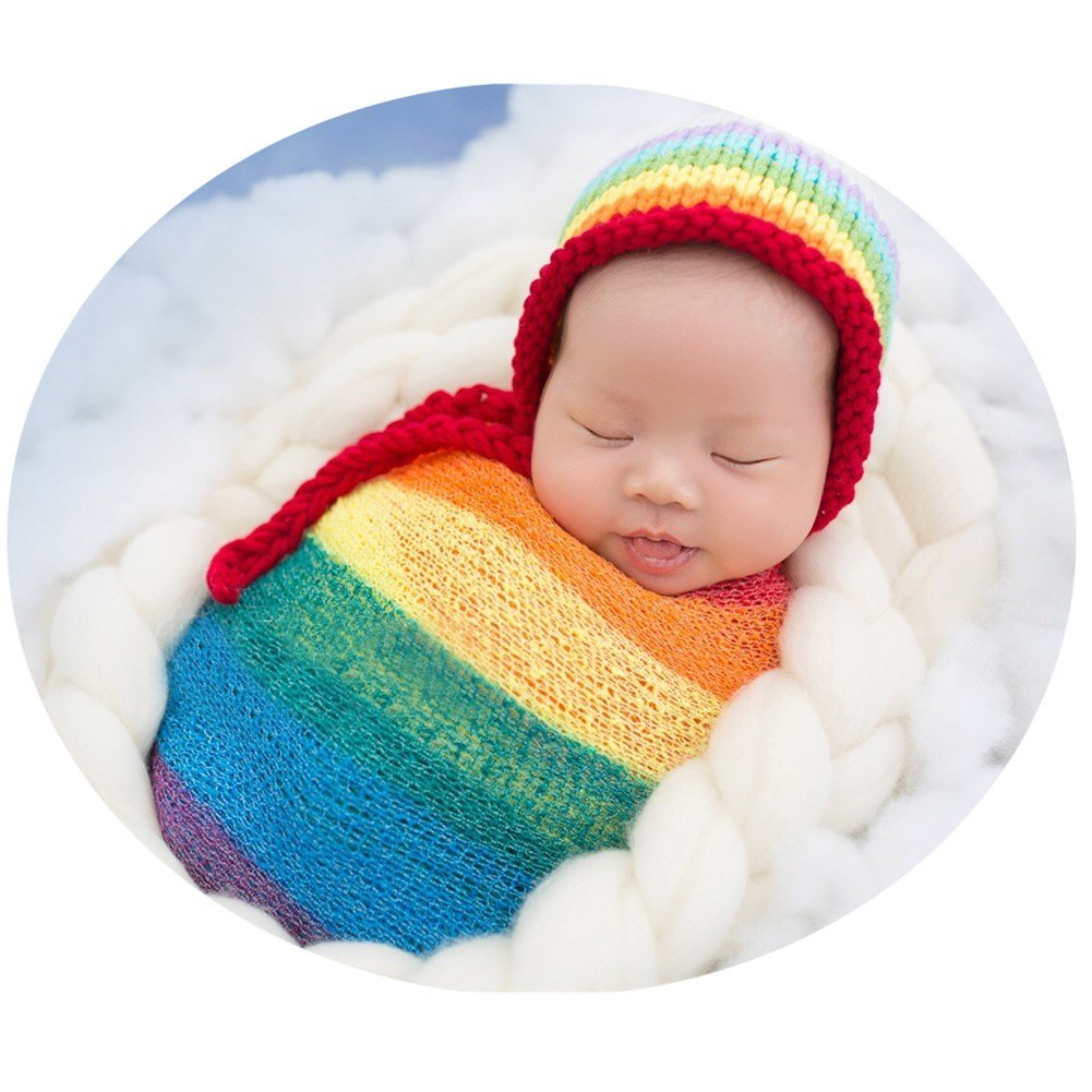 Zeroest Newborn Photo Shoot Props Baby Photography Blanket Infant Photos Outfits Flexible Rainbow Wrap Hat