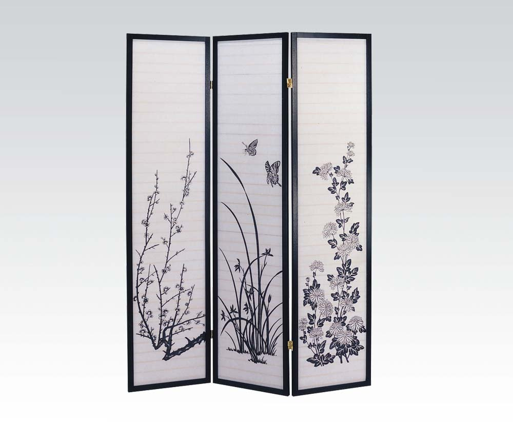 Brand New Ichiko (18''x3) x71''H 3-panels Wooden Screen Room Divider-Black Finish
