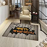 Cheap Halloween Floor Mat for kids Happy Graffiti Style Lettering on Rustic Wooden Fence Scary Evil Holiday Artwork Door Mat Increase 30″x48″ Multicolor