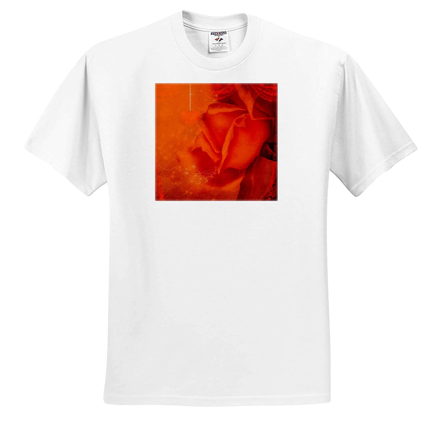 T-Shirts Wonderful Roses in Soft Colors with Heart 3dRose Heike K/öhnen Design Nature Flowers