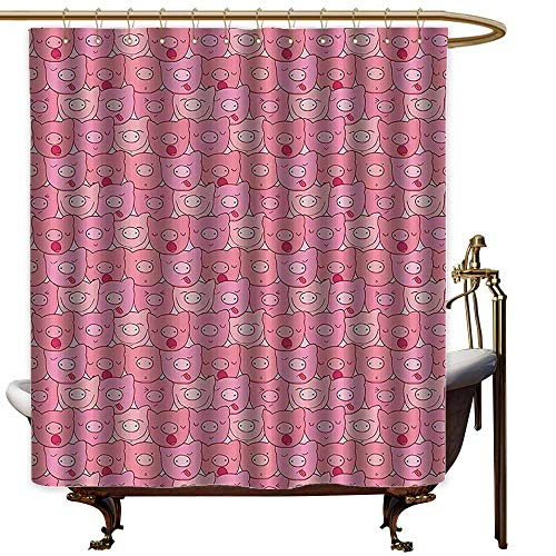 StarsART Shower Curtains for Bathroom Gray Purple Pig Decor Collection,Fun Snouts of Pigs with Different Emotions Happy Animal Faces Image,Pink,W36 x L72,Shower Curtain for Kids for $<!--$28.00-->