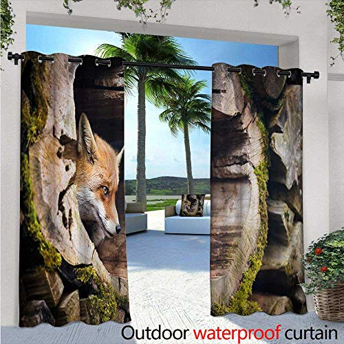 Animal Exterior/Outside Curtains W84 x L84 True Fox Vulpes Inside Wood Log Holes Exotic Furry Creature Wildlife Nature Animal Design for Patio Light Block Heat Out Water Proof Drape Tan