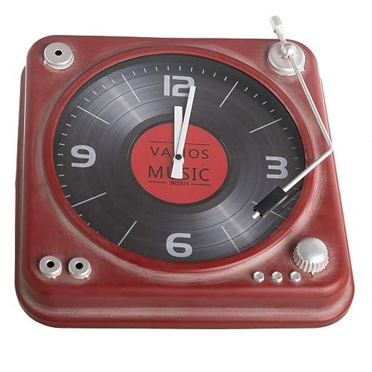 Reloj de Tocadiscos Antiguo Industrial Rojo de Metal, de 35x8x35 ...
