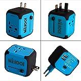 Travel Adapter Adattatore Universale da Viaggio Milool Universal Multipresa Internazionale (US / EU / UK / AUS) Caricatore Doppia Porte USB Multi-nazione per Oltre 150 Courties–Milool (Blu)