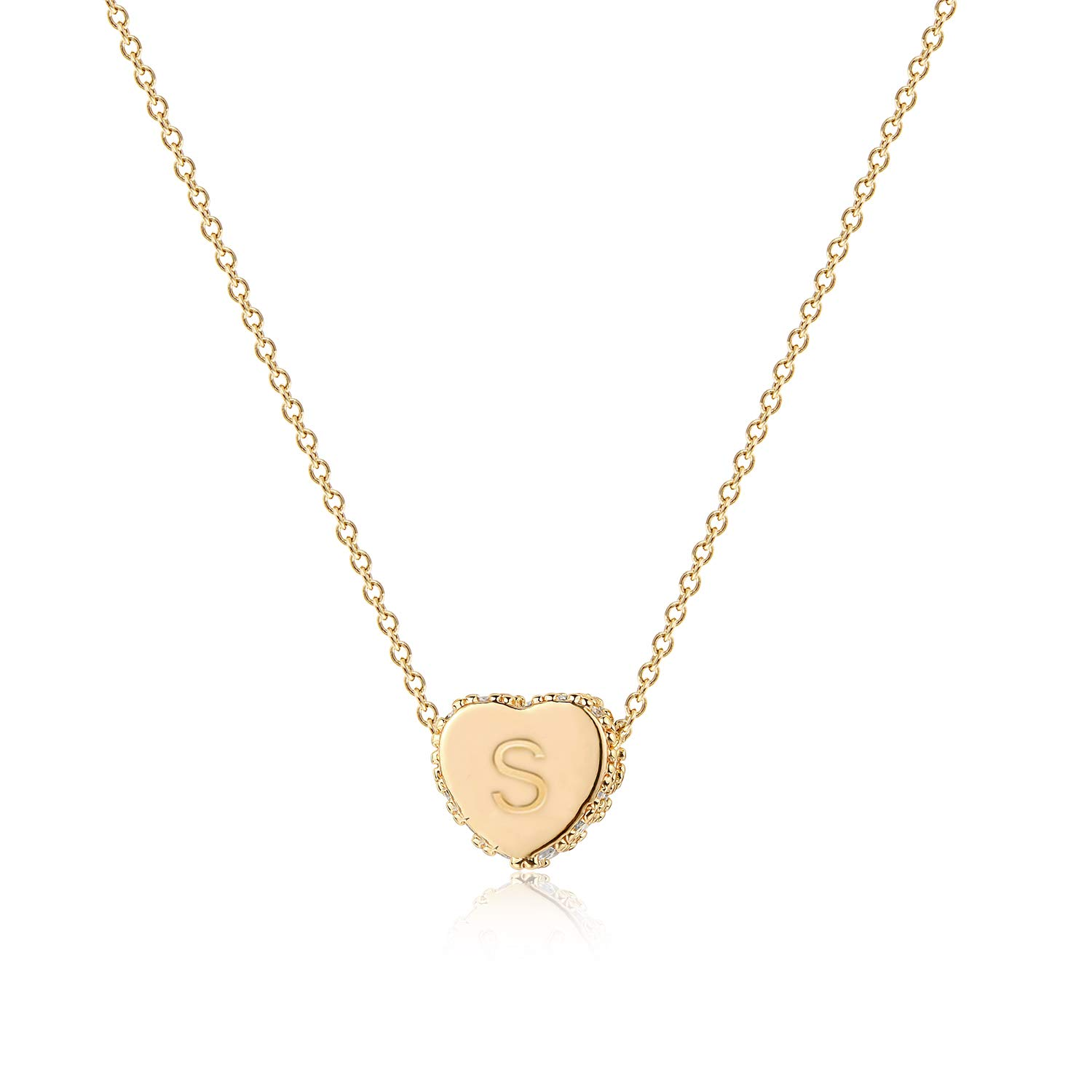 Tiny Gold Initial Heart Necklace14K Gold Filled Handmade Dainty Personalized Letter Heart Choker
