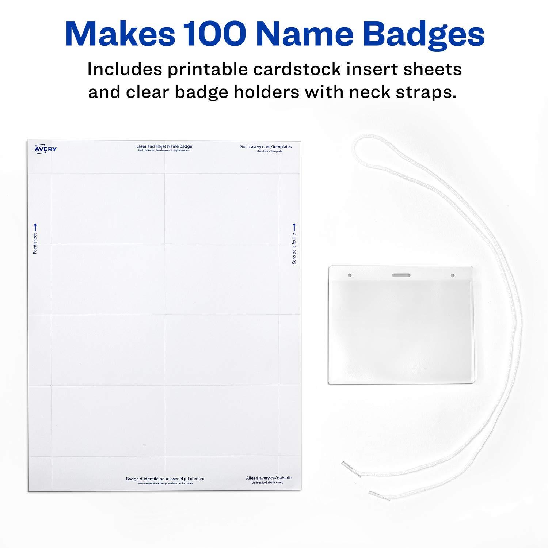 Amazon Avery Name Badges With Lanyards Print Or Write 3 X 4