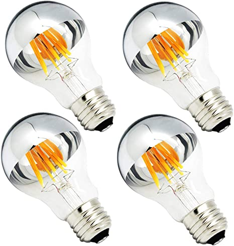Half Chrome Light Bulb 6w 60 Watt Equivalent Dimmable A19 A Shape 2700k Warm White Decorative Led Edison Bulb Sliver Tipped Mirror Light Bulb E26 Base Pack Of 4
