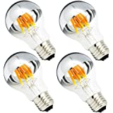 Half Chrome Light Bulb 6W (60 Watt Equivalent) Dimmable A19 A Shape 2700K Warm White Decorative LED Edison Bulb Sliver Tipped Mirror Light Bulb E26 Base Pack of 4