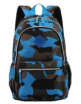 Lounayy Niños Niños Mochilas Escolares Mochila Deportiva Mochila Infantil Mochila Escolar De Moda Mochila Camuflaje (Color : Blau, Size : One Size): ...