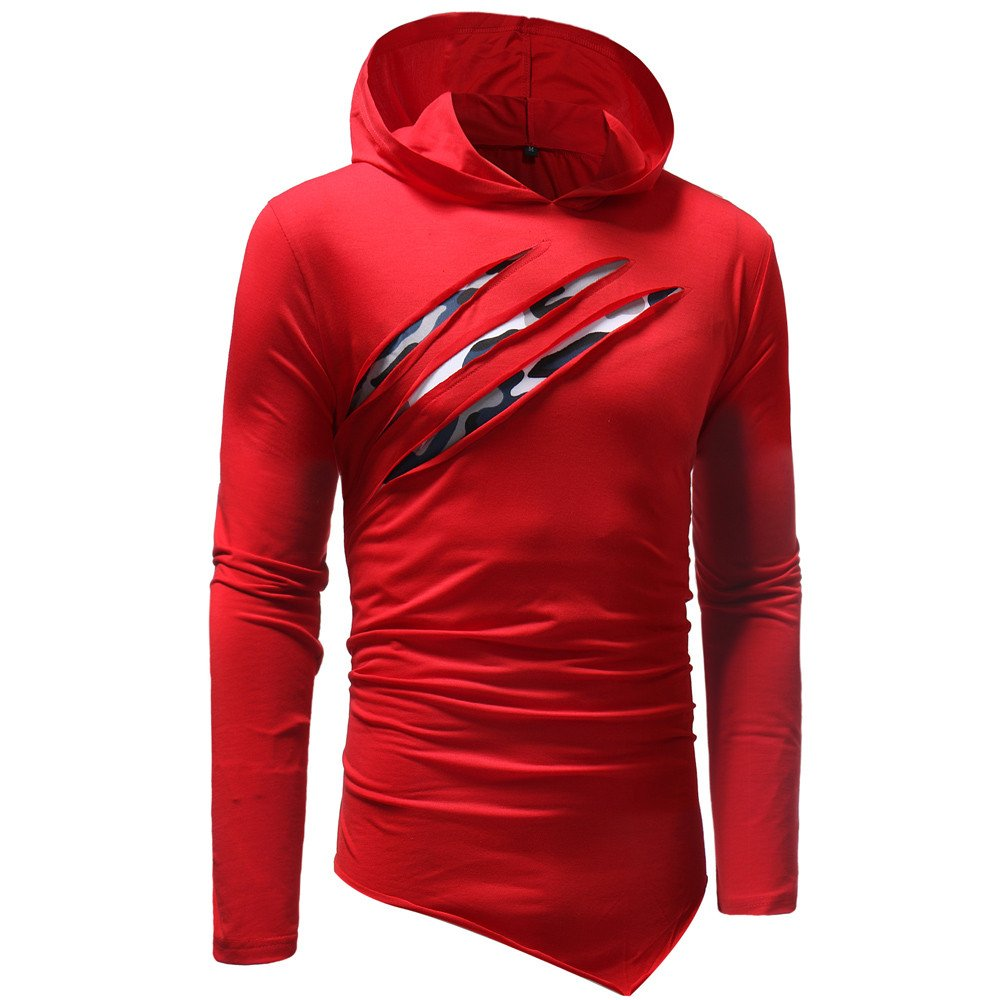 iZZZHH Mens Solid Color Stitching Hoodie Long Sleeve T-Shirt Top Oblique Hem Blouse