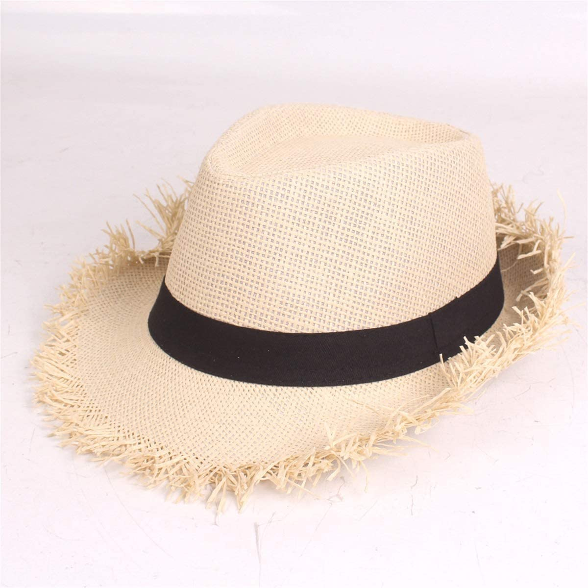KSDJSA Sun Hat Solid Color Travel Topee Round Holiday Sun Hat Beach Cowboy Hat S