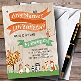 Woodland Forest Animals Fox Childrens Birthday Party Invitations