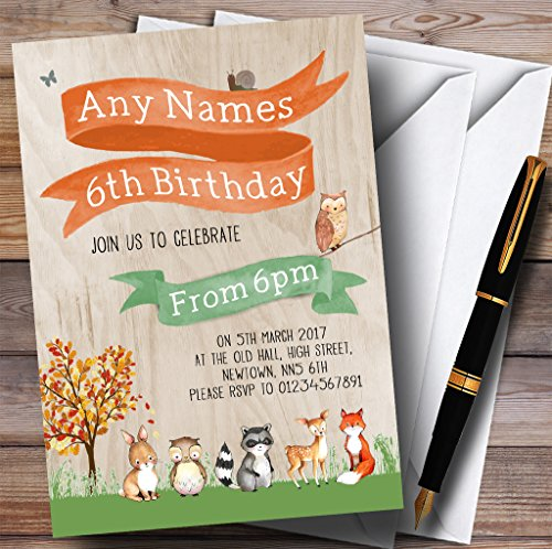 Woodland Forest Animals Fox Childrens Birthday Party Invitations by The Card Zoo