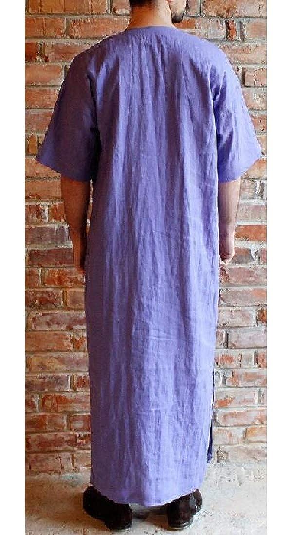 Fensajomon Mens Middle East Cotton Linen Solid Short Sleeve Loose Arab Thobe Thawb Caftan