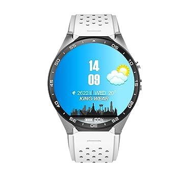 KW88 MTK6580,1.3GHz,4 GB ROM,512MB RAM,3G WIFI Smartwatch Teléfono Todo en uno Bluetooth Smart Watch con GPS, Cámara(blanco)