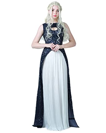 8ed0b5adb Miccostumes Women's Khaleesi Dress Daenerys Targaryen Cosplay Costume  Halloween (S) Blue/White