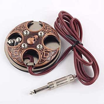 Amazon.com: Tattoo Foot Padel Cross Skull Switch Red Copper With RCA Clip Cord: Beauty