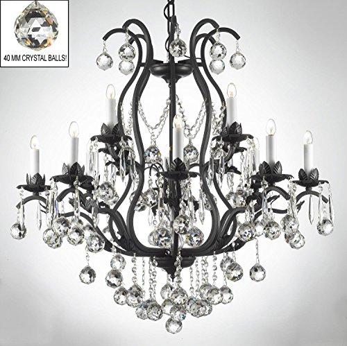 Swarovski Crystal Trimmed Chandelier! Wrought Iron Crystal Chandelier Chandeliers Lighting Dressed W/ Crystal Balls