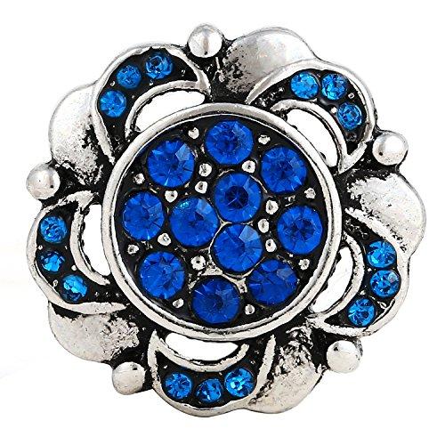 ® morella click-button bouton pression pour femme motif fleurs argenté avec zircone bleu