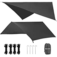 Gorich 10 X 10 Waterproof Camping Hammock Rain Fly Hammock Camping Tarp, Camping Gear and Accessories, Perfect Hammock Tent Rain Cover, Including Stakes, Ropes and Tensioners, Ripstop Nylon