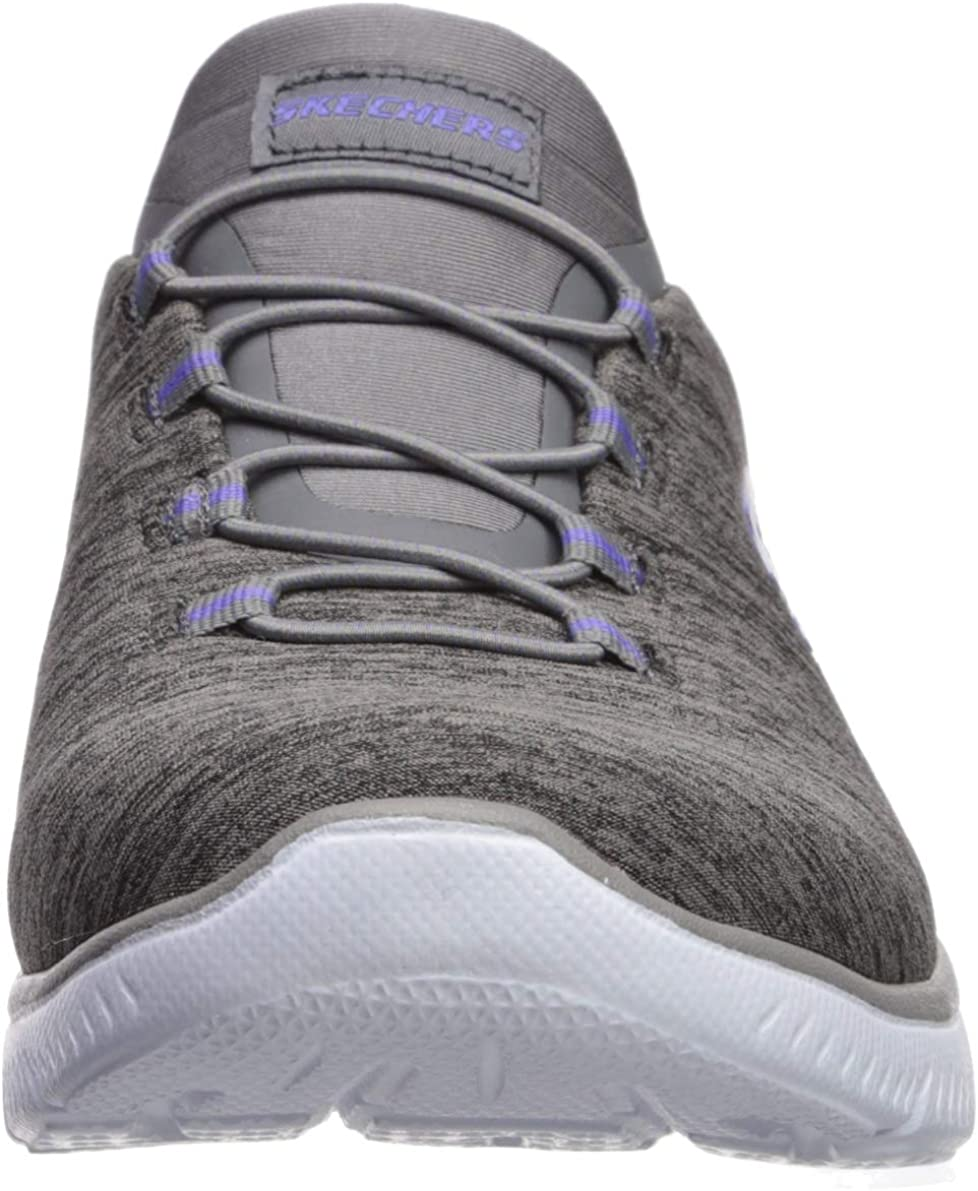 Skechers Dynamight Break Through Femme Chaussures Gris Charcoal Purple