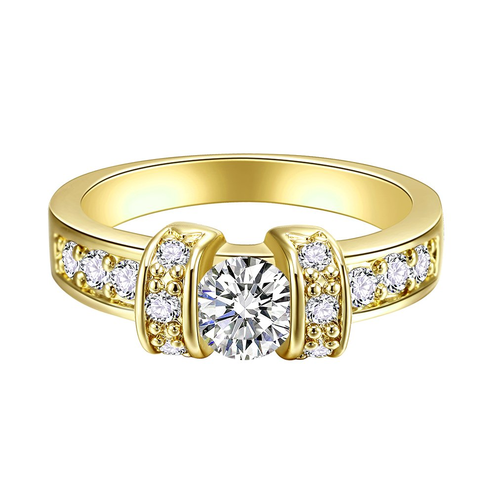 Lavencious AAA CZ Diamond Cut Ring Size 5-10 Cubic Zirconia Jewelry For Women (Gold, 8)