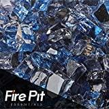 "Fire Pit Essentials 10 Pounds Blended Fire Glass for Fireplace Indoor & Outdoor (1/2"" Inch, Kenai Blue Reflective) offers"