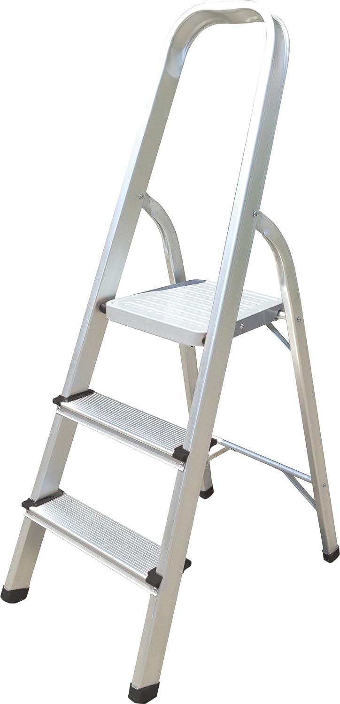 Escalera de aluminio Hyfive Paso 3 - Peldaños antideslizantes - Escalera de aluminio ligero con certificado BS EN 131 Parte 2: Amazon.es: Bricolaje y herramientas