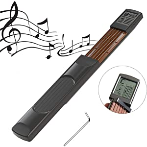 Luzon Pocket Guitar Chord Trainer,Portable Mini 6 Fret Guitar Finger Trainer Chord Practice Tool With Rotatable Chords Chart Screen For Beginner