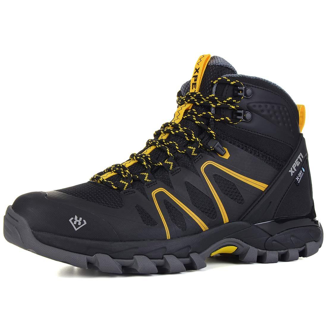 XPETI Men's Wildfire Mid Waterproof Hiking Boot Black/Yellow 13