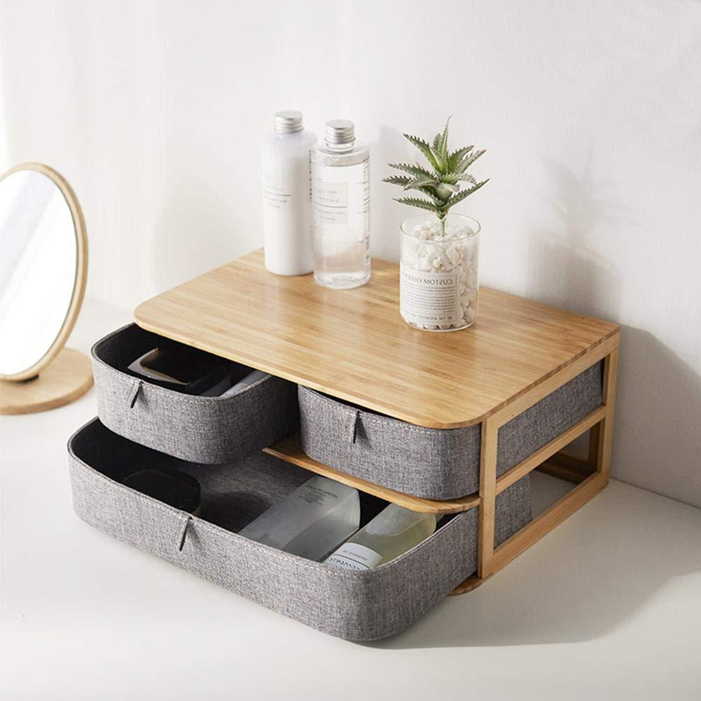 iBaste Multi-Layer Drawer Type Storage Boxes Cosmetic Organizer Box Drawer Bamboo & Waterproof Oxford Cloth Desktop Office Storage Box
