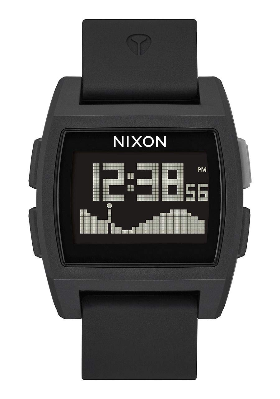 NIXON Base Tide A1104 - All Black - 100m Water Resistant Men's Digital Surf Watch (38 mm Watch Face, 22 mm Pu/Rubber/Silicone Band) by NIXON