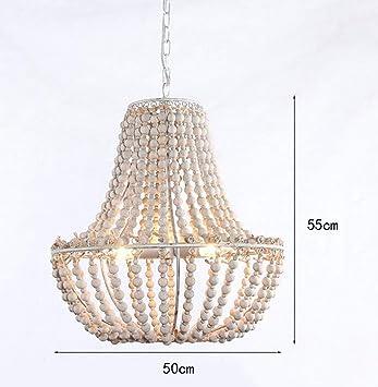 E-L Lámpara de Techo Lámpara de Cáñamo Aldea Francesa Perlas ...