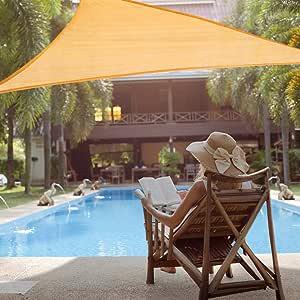 YHG - Toldo de Parasol Triangular, 12 x 12 x 12 pies, Color Beige, protección UV, 97% para Patios, césped, Jardines, Piscinas y Actividades al Aire Libre: Amazon.es: Jardín