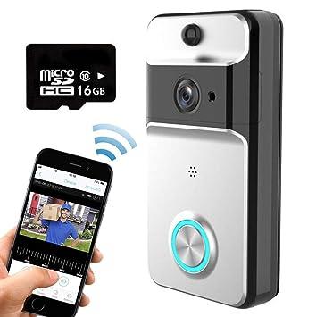 Smart Video Timbre Inalámbrico Wifi Cámara De Seguridad Con Campana De Interior, Tarjeta De 16G