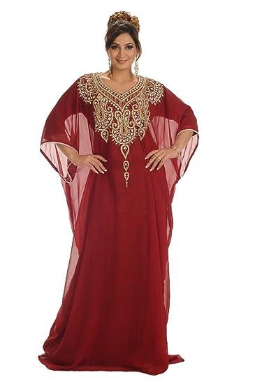 Maxim Creation Women's Farasha Kaftan Dress Small Maroon: Amazon.co.uk:  Clothing