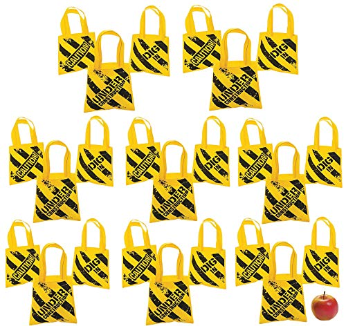 Mini Construction Zone Goodie Bags, 24 Pack Great Birthday Party Favors, Cute Tote Bag for Kids, By 4Es Novelty