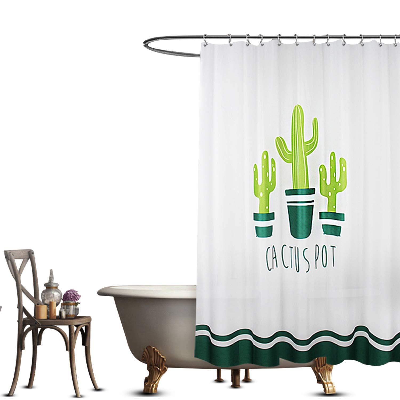 Shower Curtain Waterproof Peva Bathroom Shower Curtains Cactus Design 72x72\' Inch FuXing