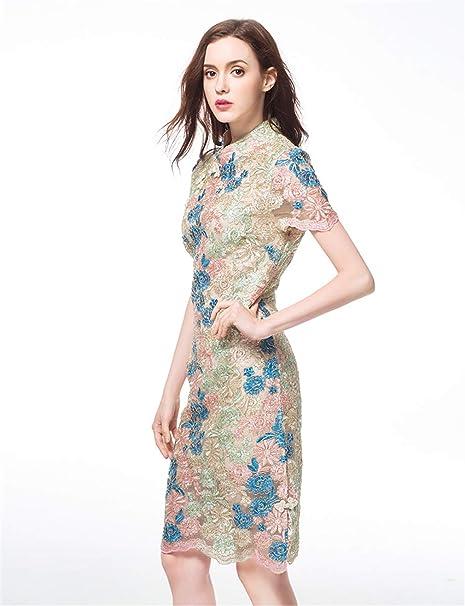 Vestido Talla Extra Verano Oro Cheongsam Bordado Cordón Falda ...