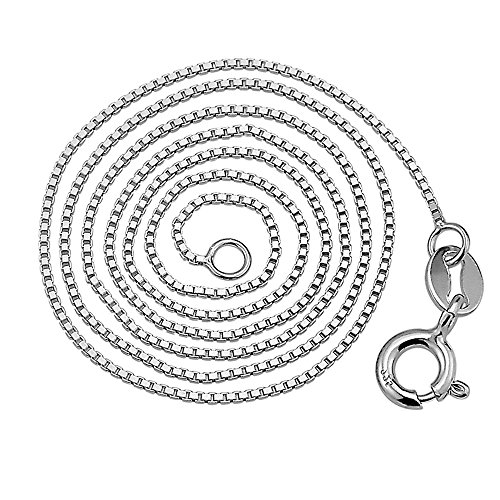 925 Sterling Silver Cable Twisted Curb Solid Box Chain Italian Crafted White Gold Plated Necklace,16