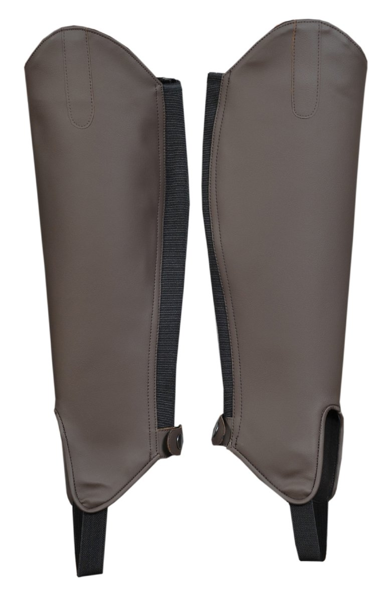 ADULT EQUESTRIAN SYNTHETIC LEATHER HALF LEG HORSE RIDING CHAPS GAITERS BROWN FREE UK DELIVERY S-Products