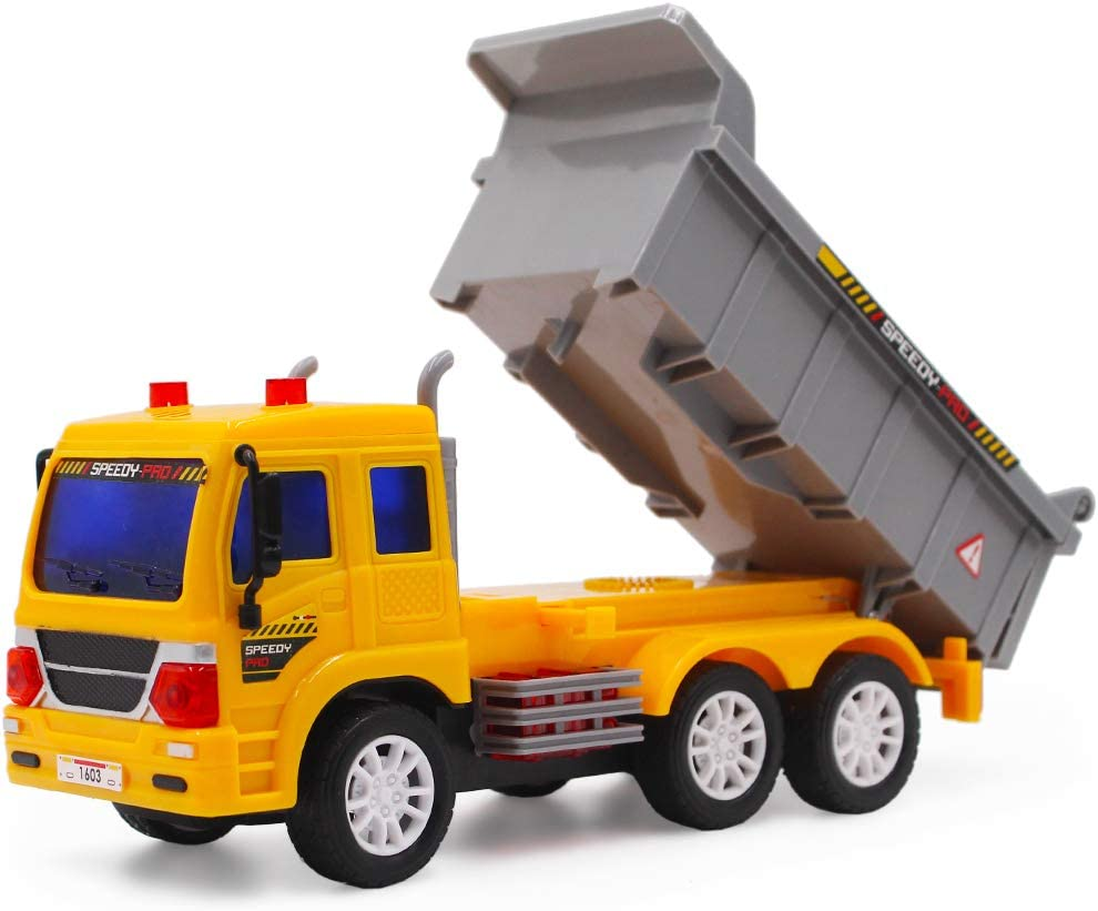 deAO RC Camiones de Serie Camión de Construcción a Radio Control Vehículo de Obras con Luces y Sonidos Nivel Principiante (Camión Volquete)